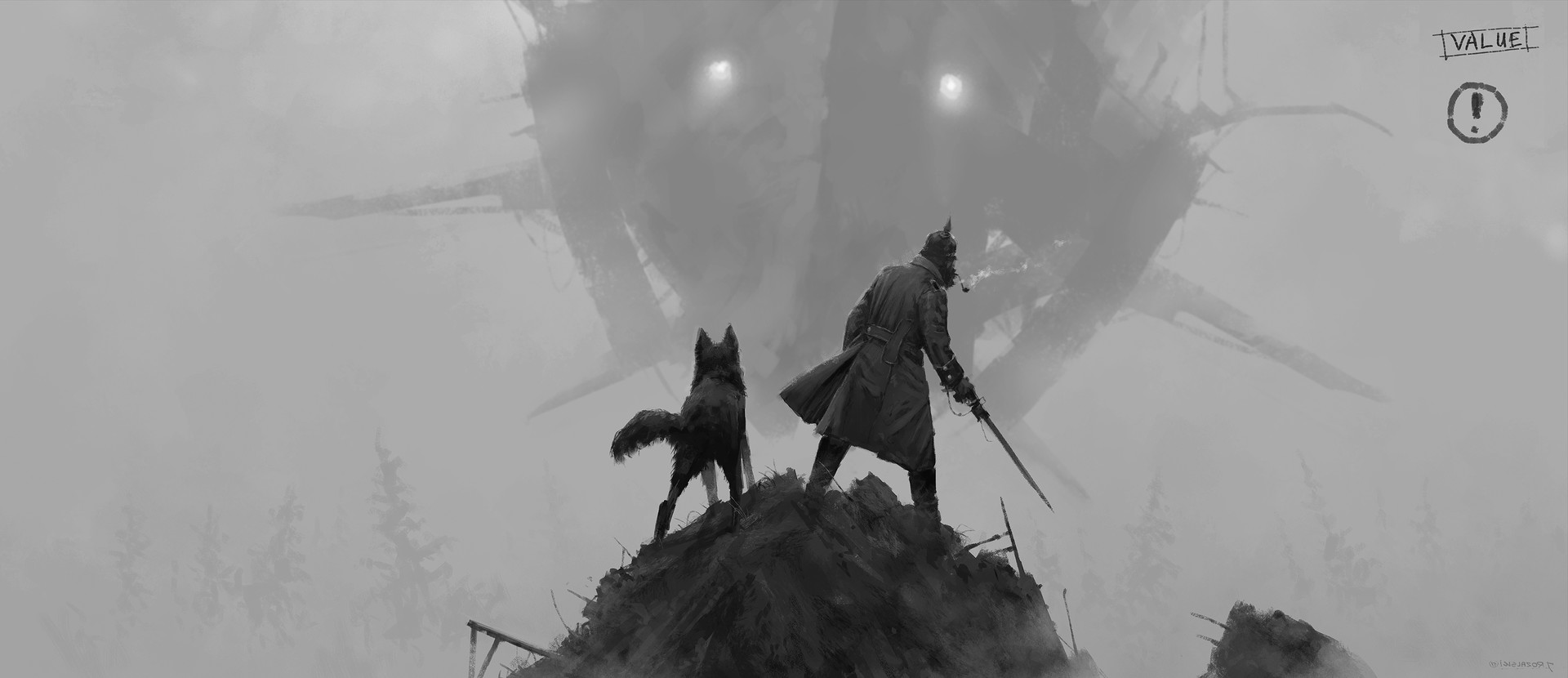 Jakub rozalski walk with the dog process2