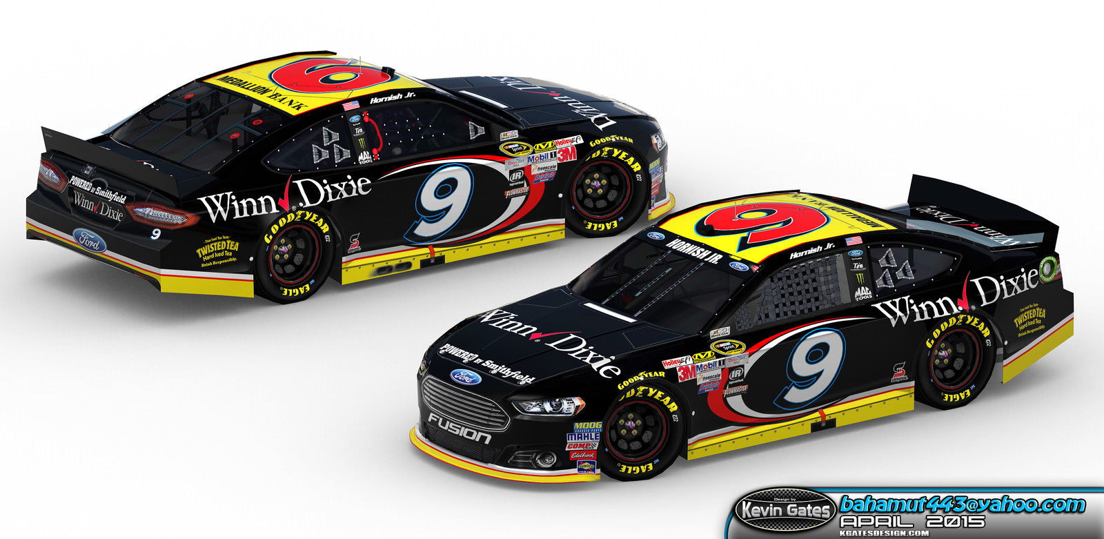 Original Autodesk 3DS Max render of the finalized 2015 #9 Winn-Dixie Ford Fusion driven by NASCAR Sprint Cup Series driver Sam Hornish Jr. of Richard Petty Motorsports