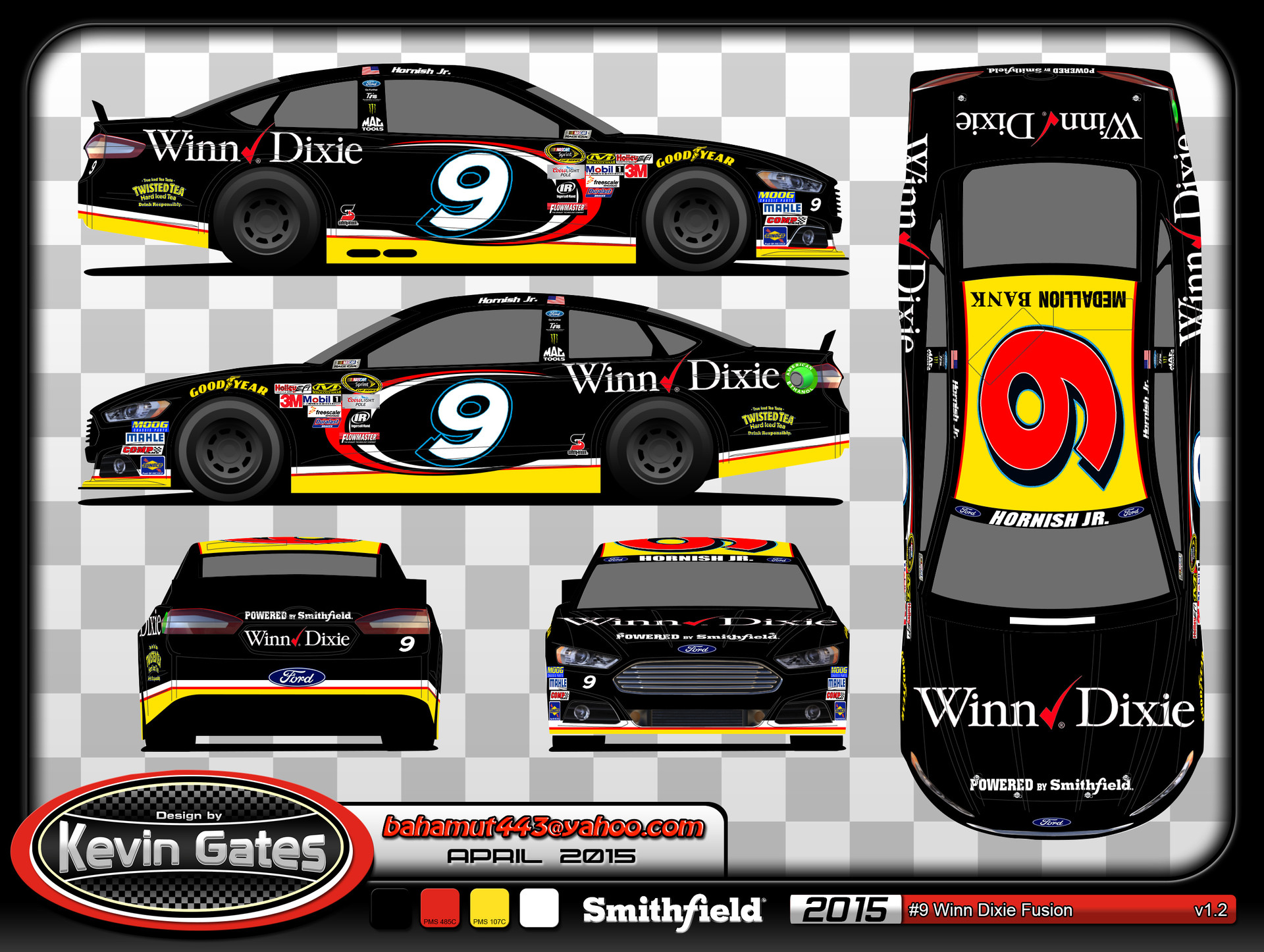 Original vector art of the 2015 #9 Winn-Dixie Ford Fusion