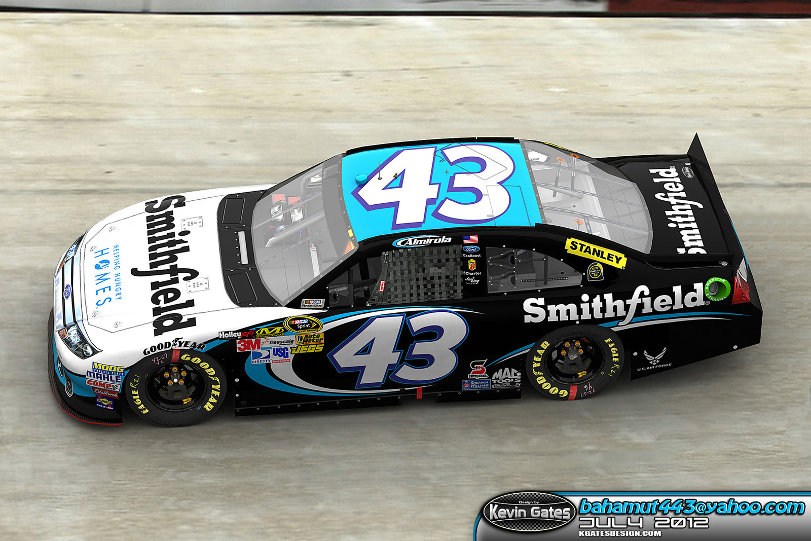 Autodesk 3DS Max render provided to Smithfield Foods depicting the proposed #43 Smithfield paint scheme on track