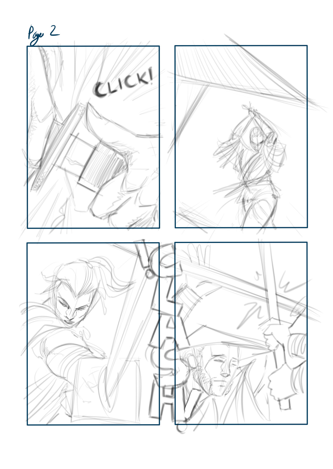 Pencil layout for Page 02, using Mischief