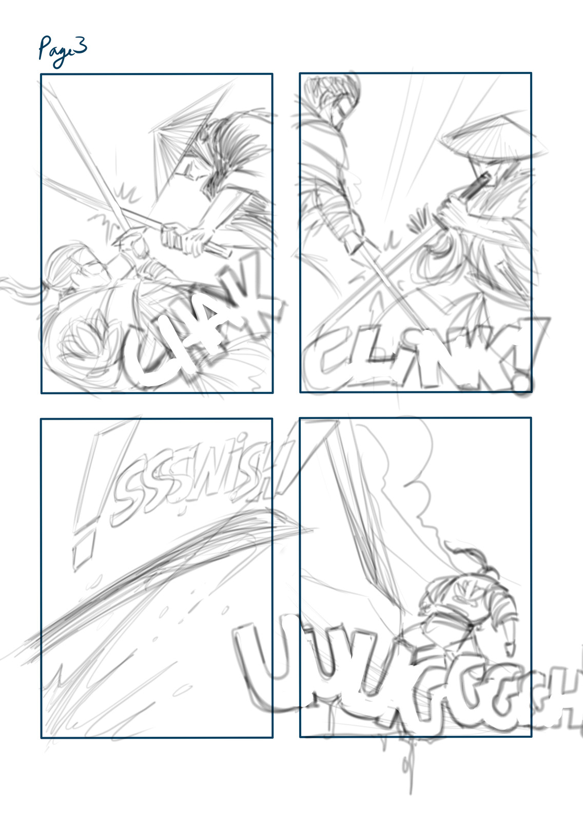 Pencil layout for Page 03, using Mischief