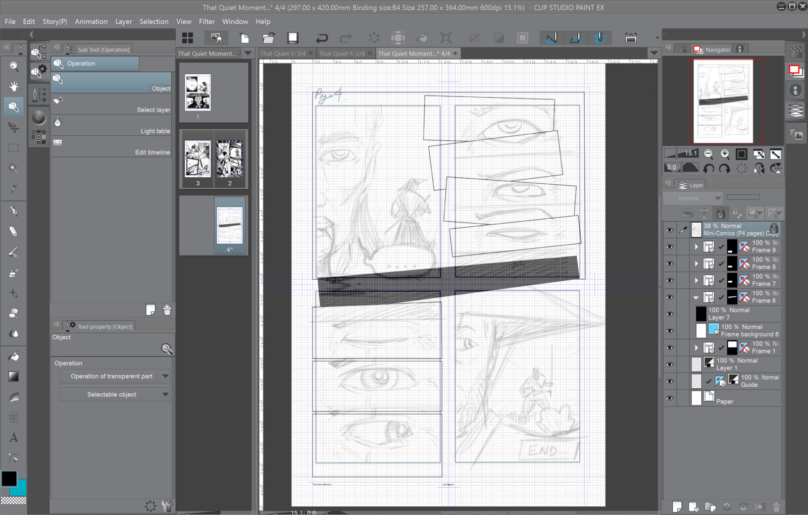 Importing Pencil layout into Clip Studio Paint and creating the frame for the comic.