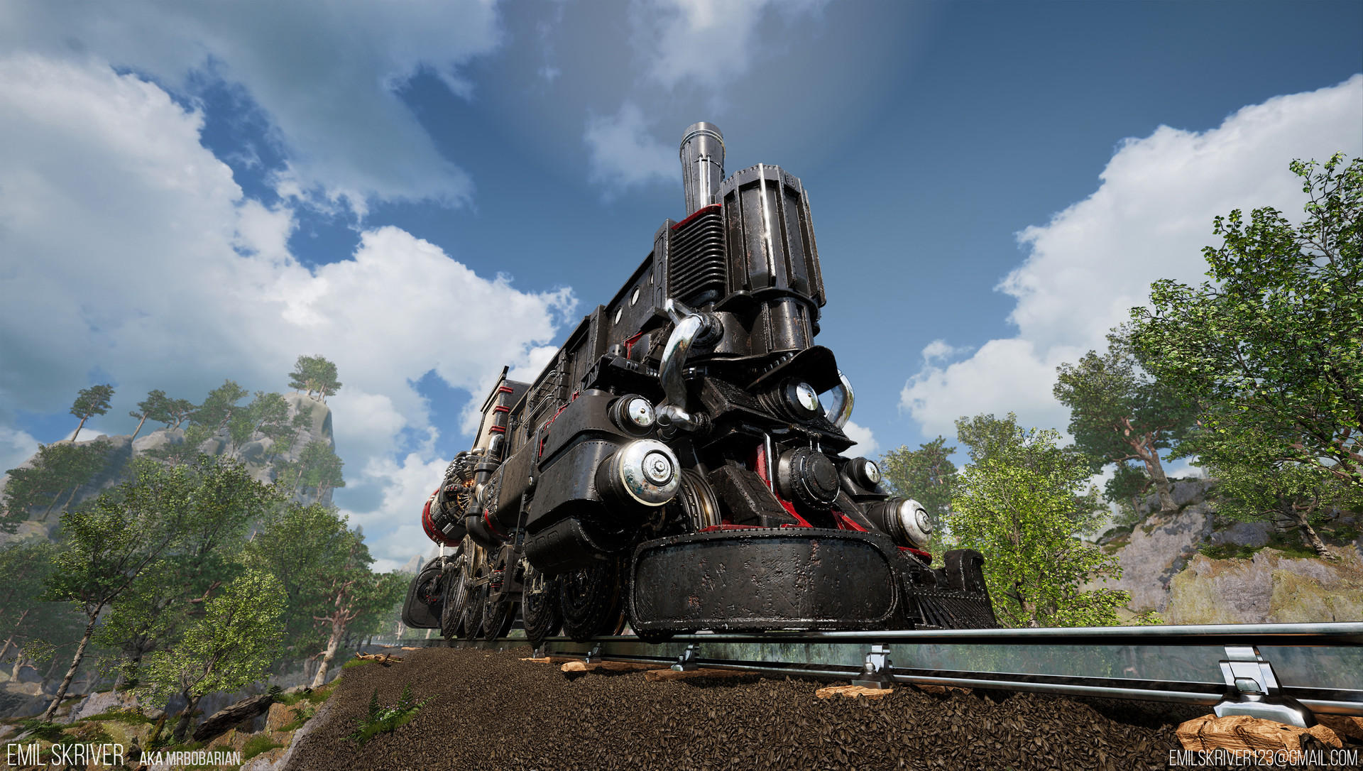 Emil skriver train frontright