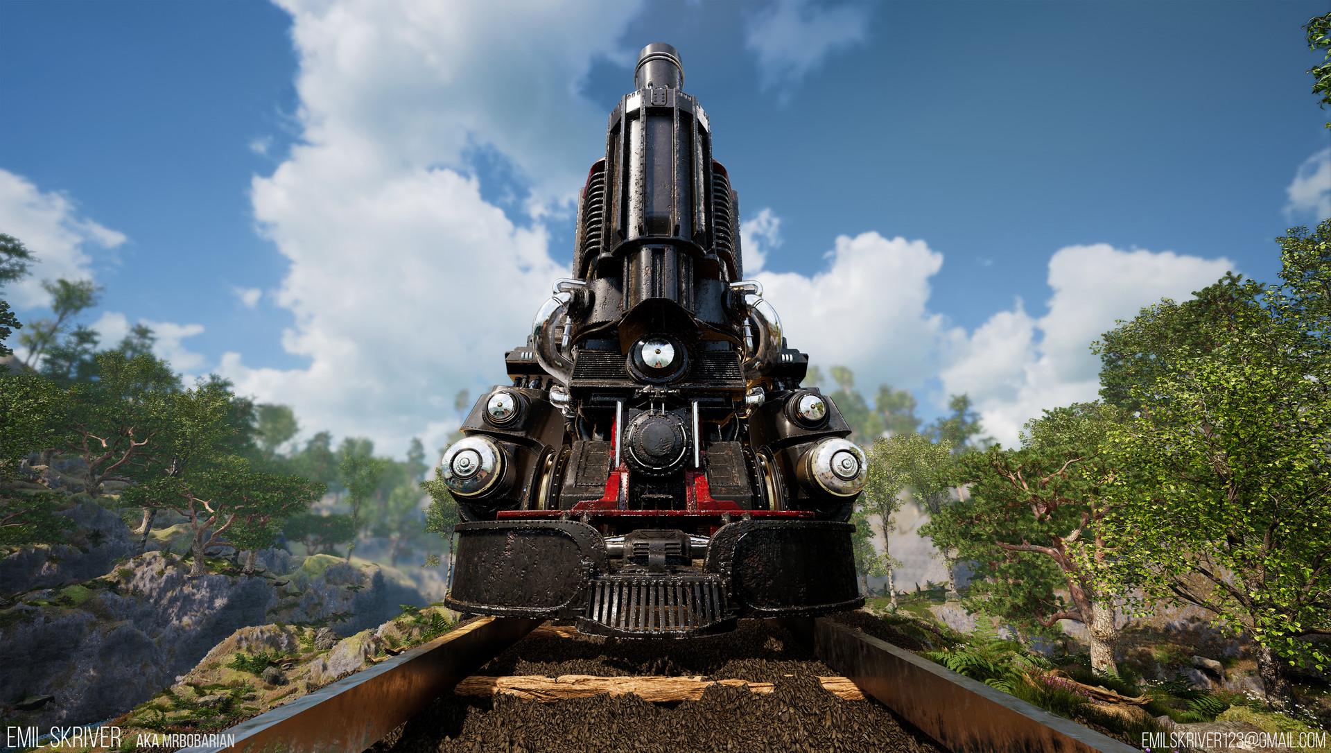 Emil skriver train front