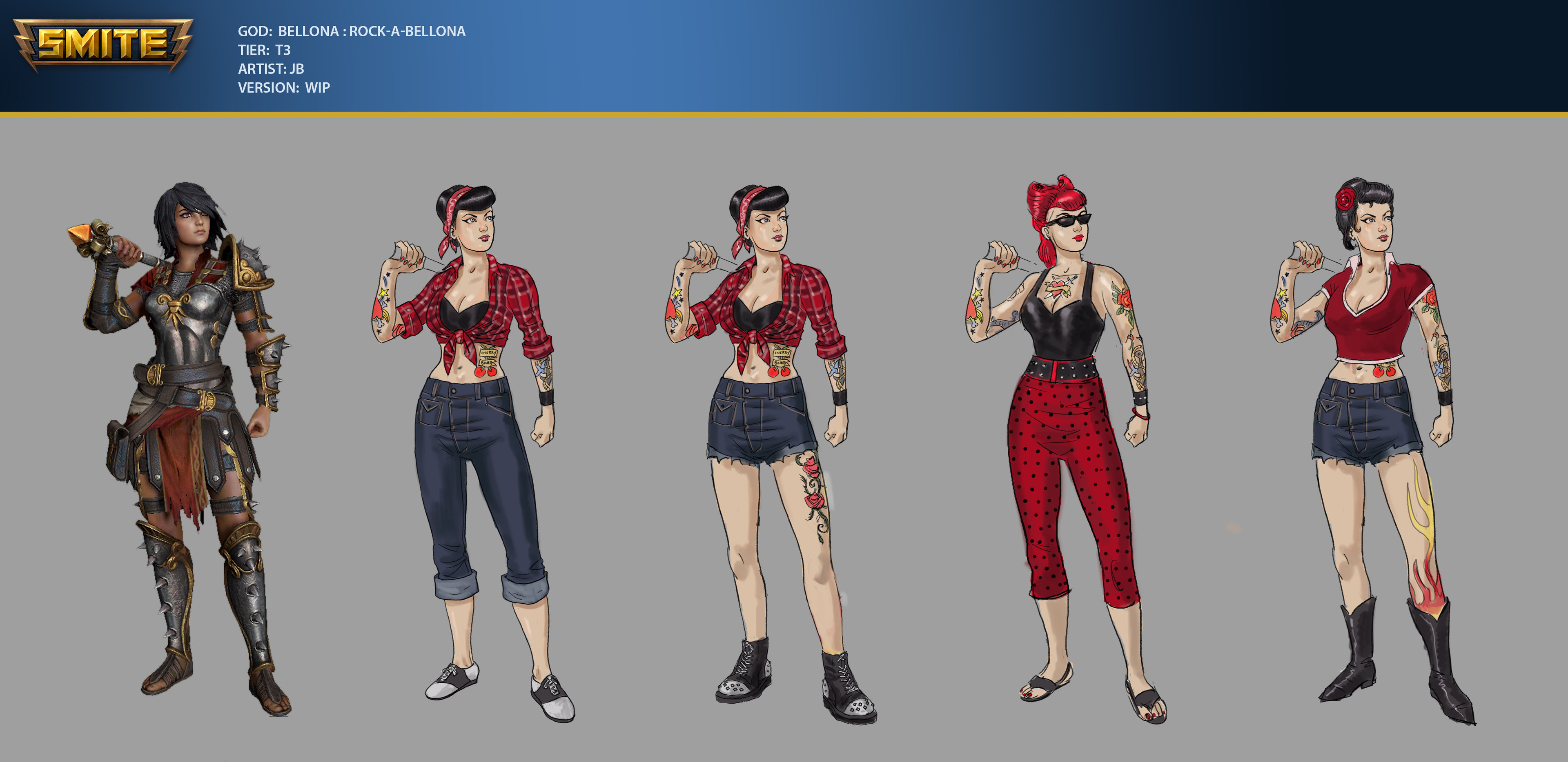 Early sketches for Rock-A-Bellona skin