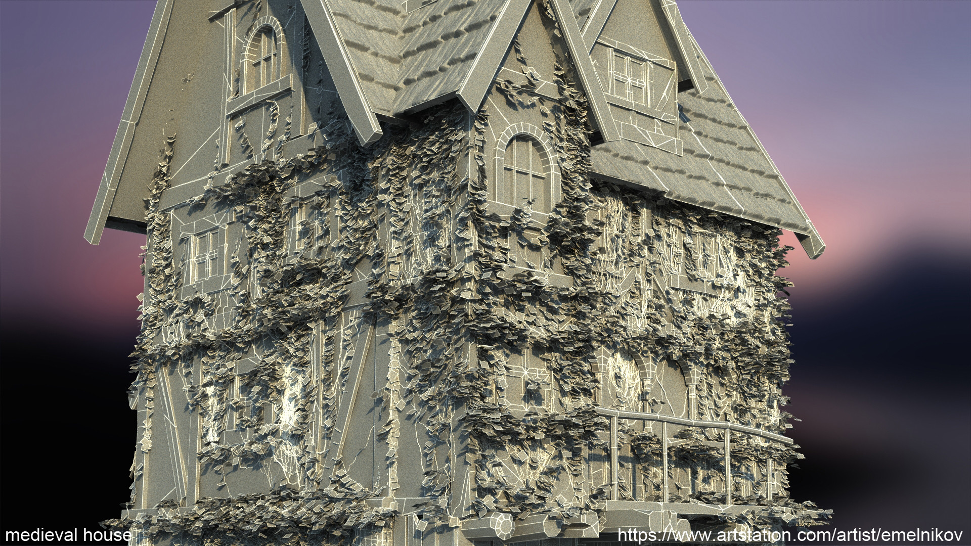 Eugene melnikov medieval house1 render frm8 wire