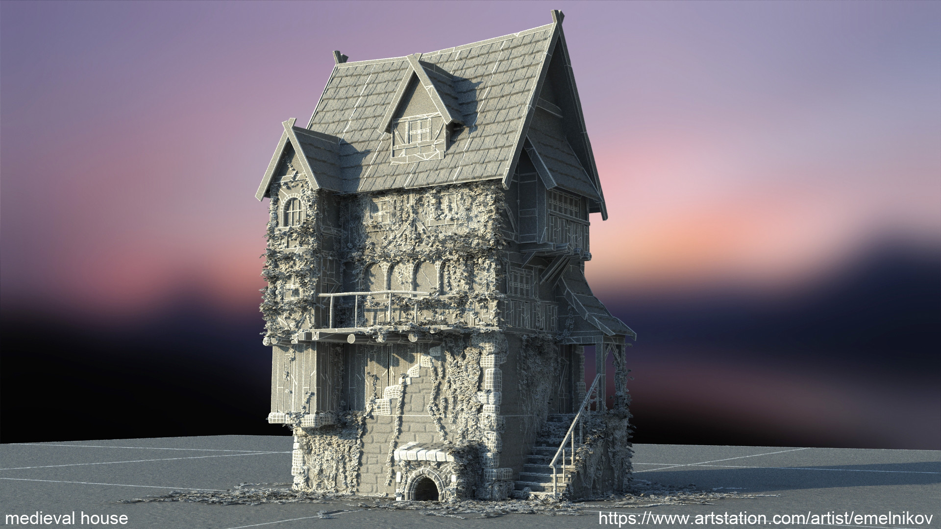 Eugene melnikov medieval house1 render frm0 wire