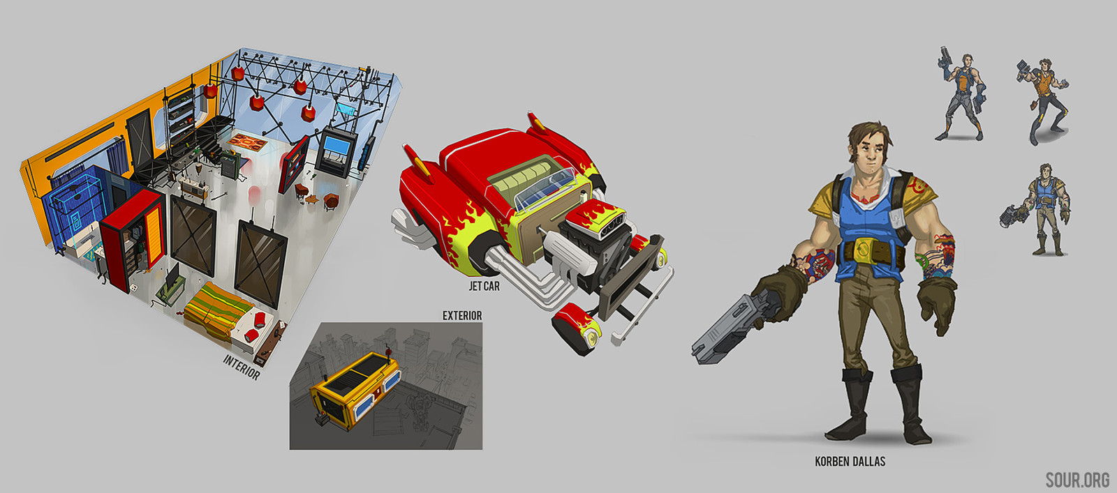 Korben Dallas + Rocket Car + Apartment, redesigned for cartoony comic book.