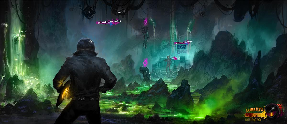 DJBeats heads towards a demon punk in his evil lair of ultimate doom... watch for falling roadies ;P