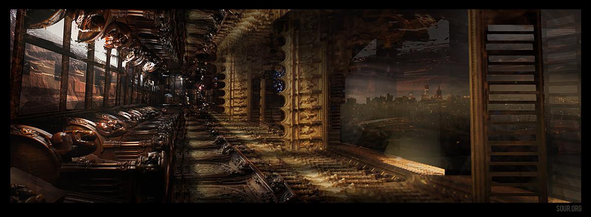 Giger-ish gaudy sci-fi hallway.