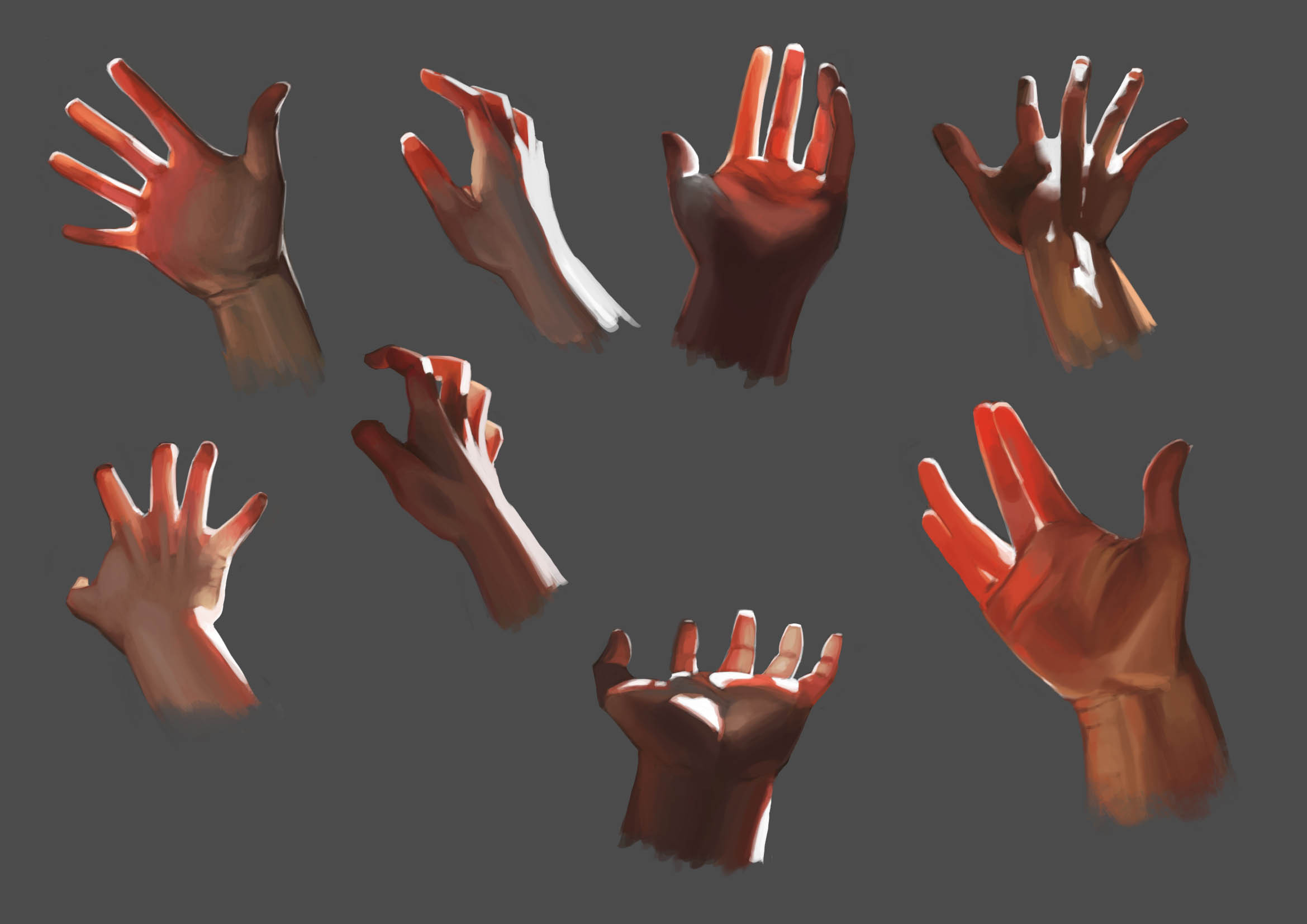 hands studies, color reference from Teyoliia.deviantart.com