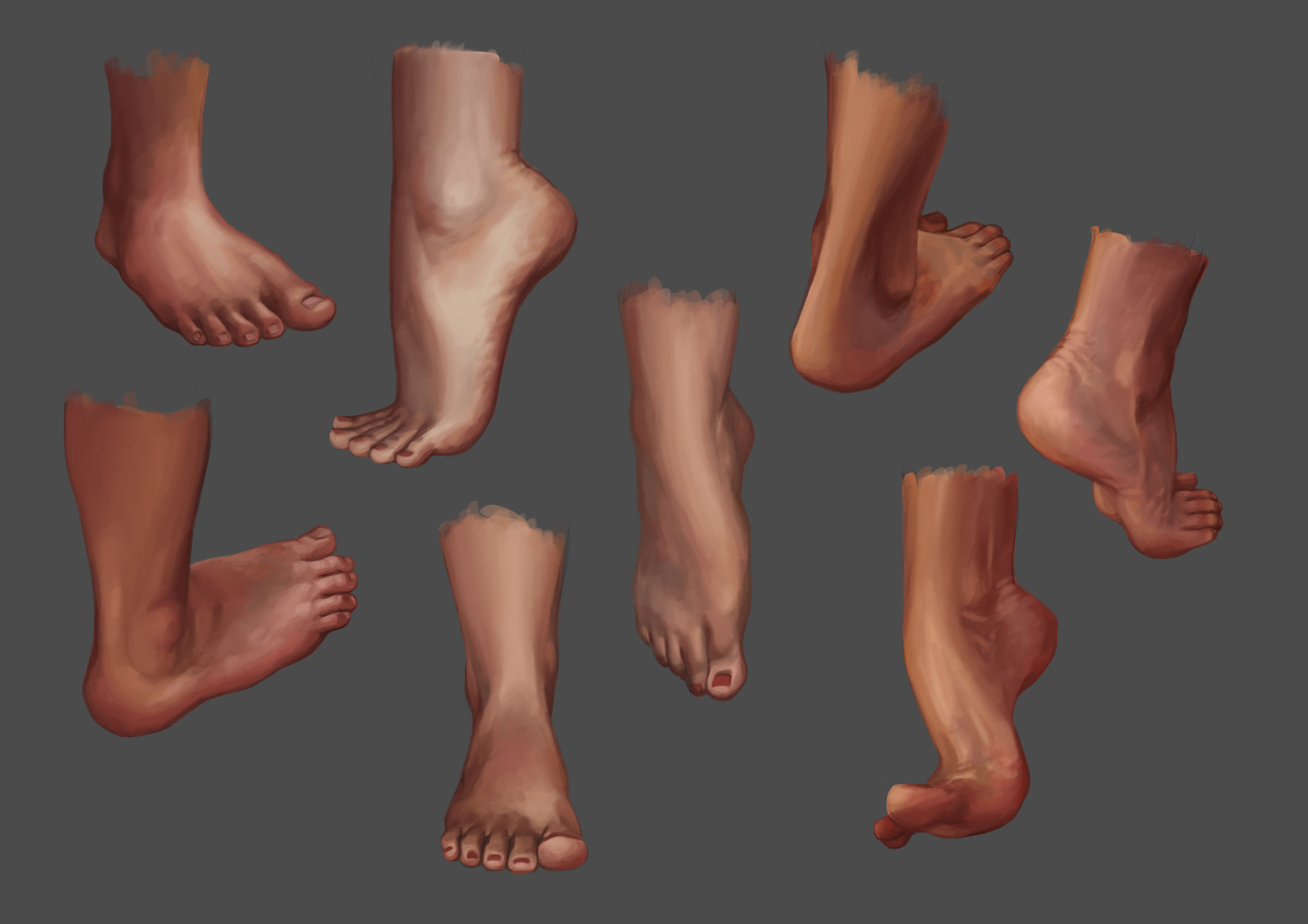 Feet studies with color reference from irysching.deviantart.com