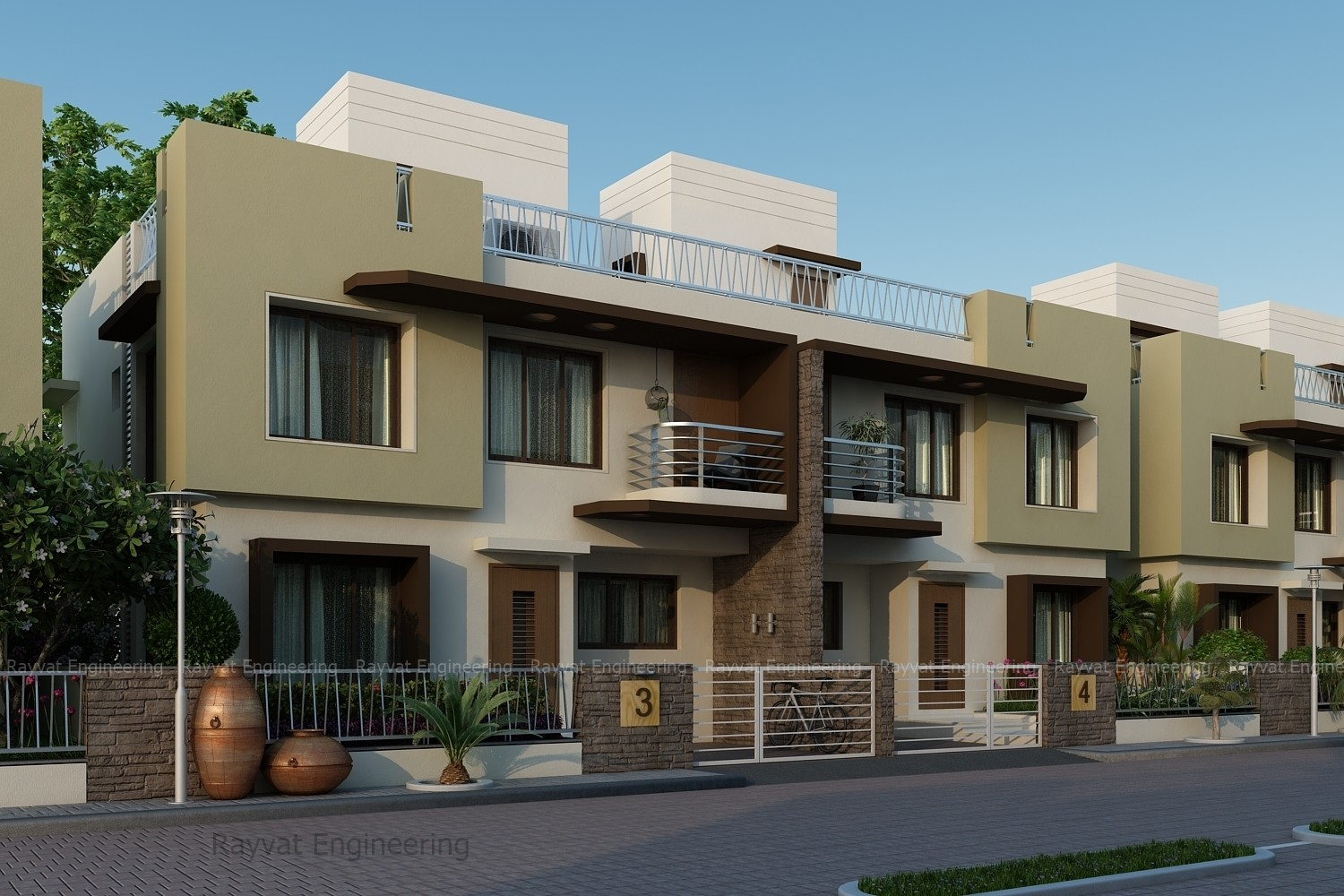 Rayvat Engineering - 3D Exterior Bungalow and Apartments Design