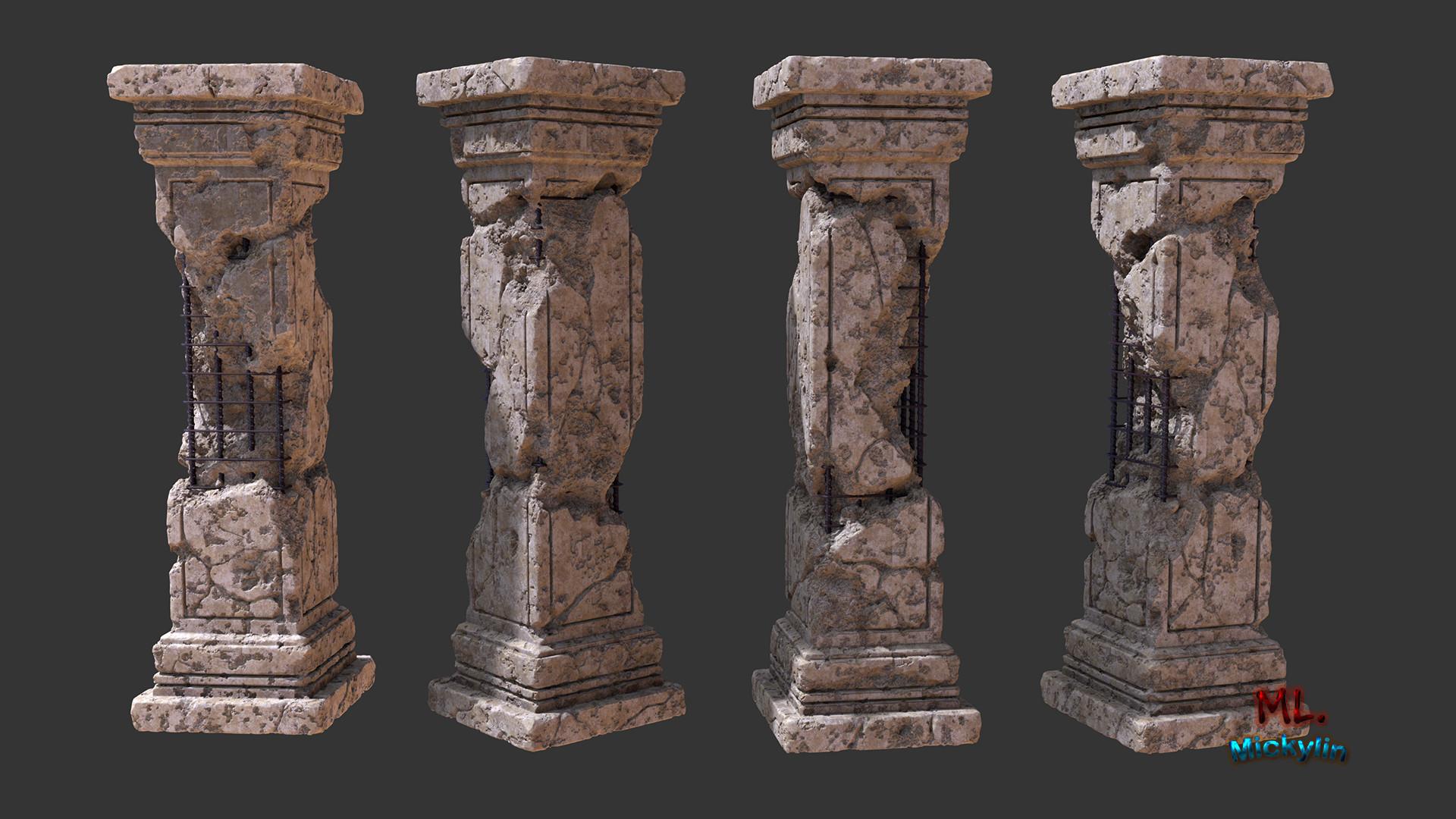 Broken Stone Pillar : Concrete pedestal artstation broken pillar micky lin