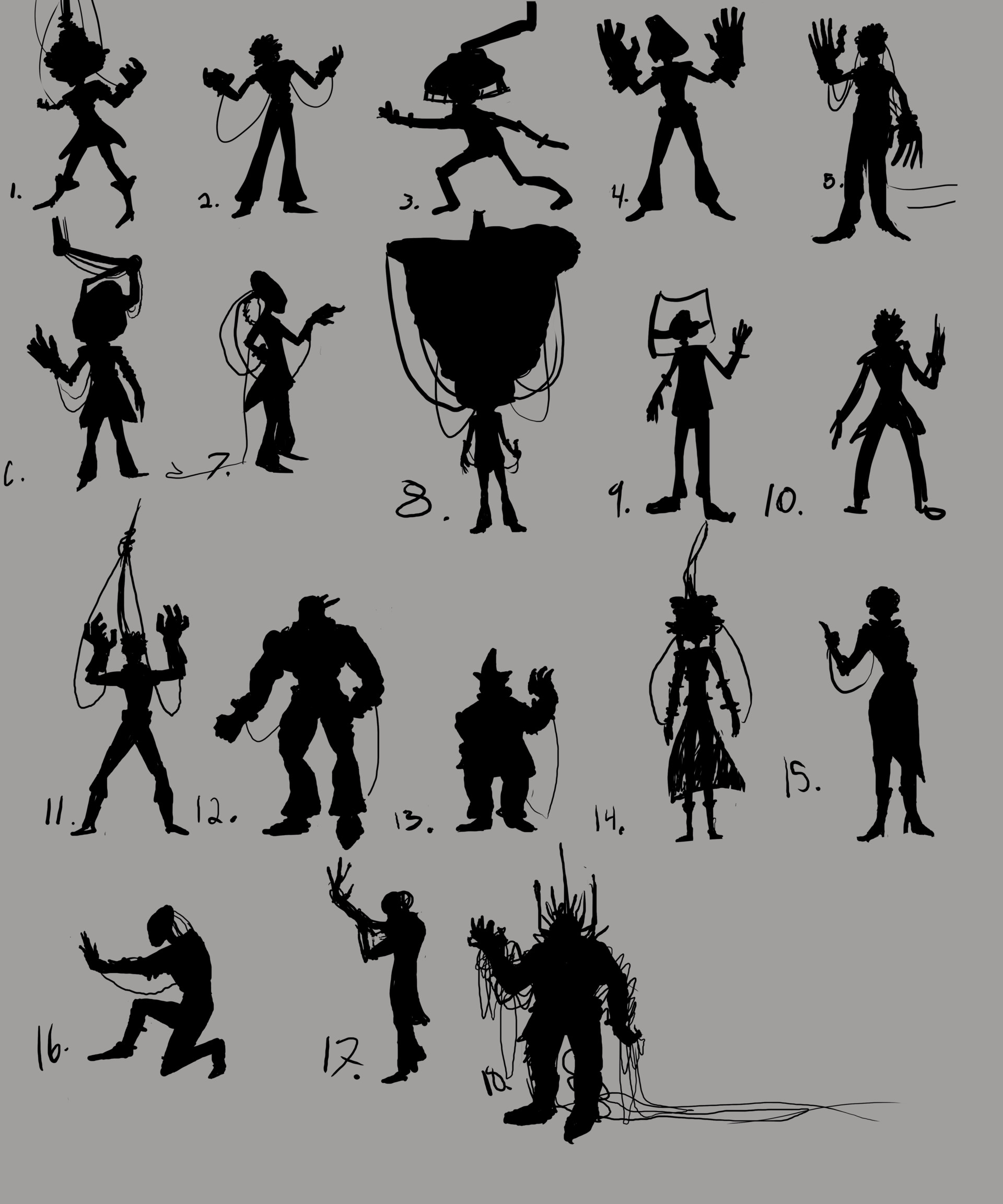 Silhouettes. A few I gave up on half way though and moved on. I ended up choosing #8.
