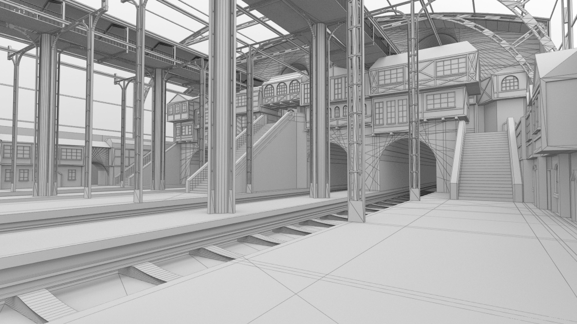 Triston beadle train station 02 wire frame