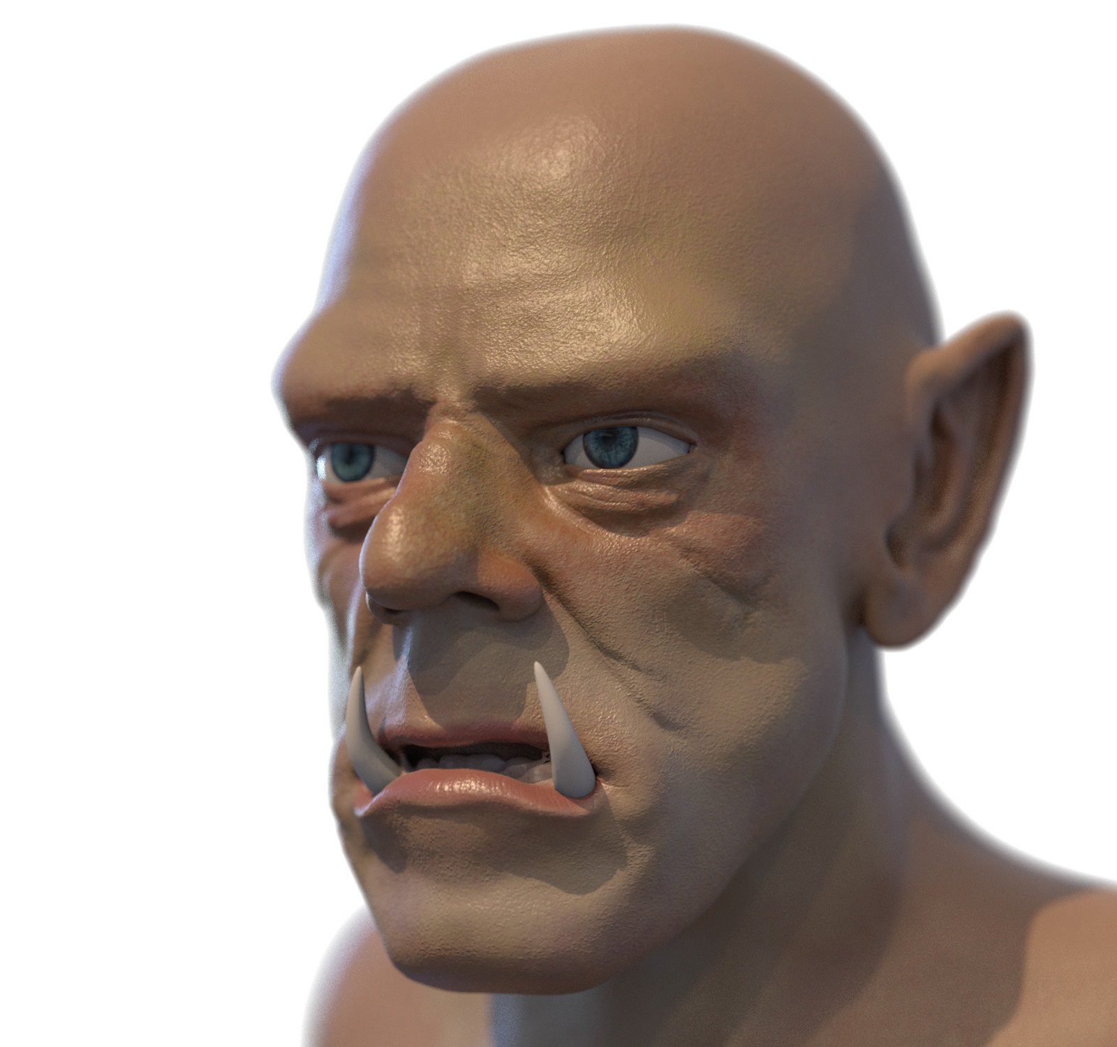 Orc update from blender render. Those eyes look way too kind, and need to add hair and armour and some more attitude.