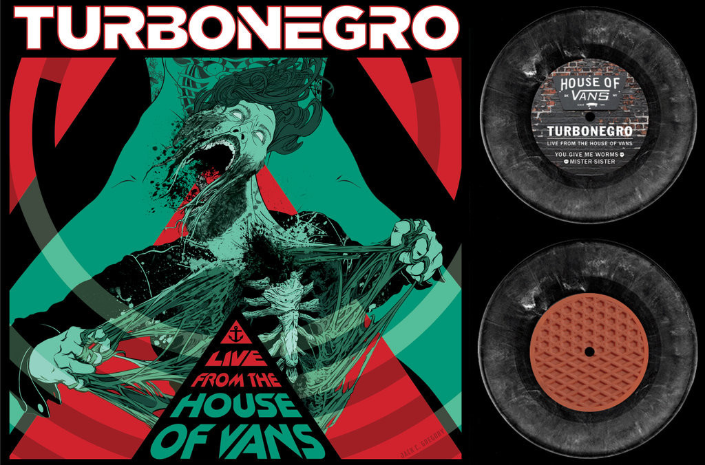 """Turbonegro Vans 7"""" vinyl sleeve. Illustrated by Jack C. Gregory. Part of the Live from the House of Vans series."""