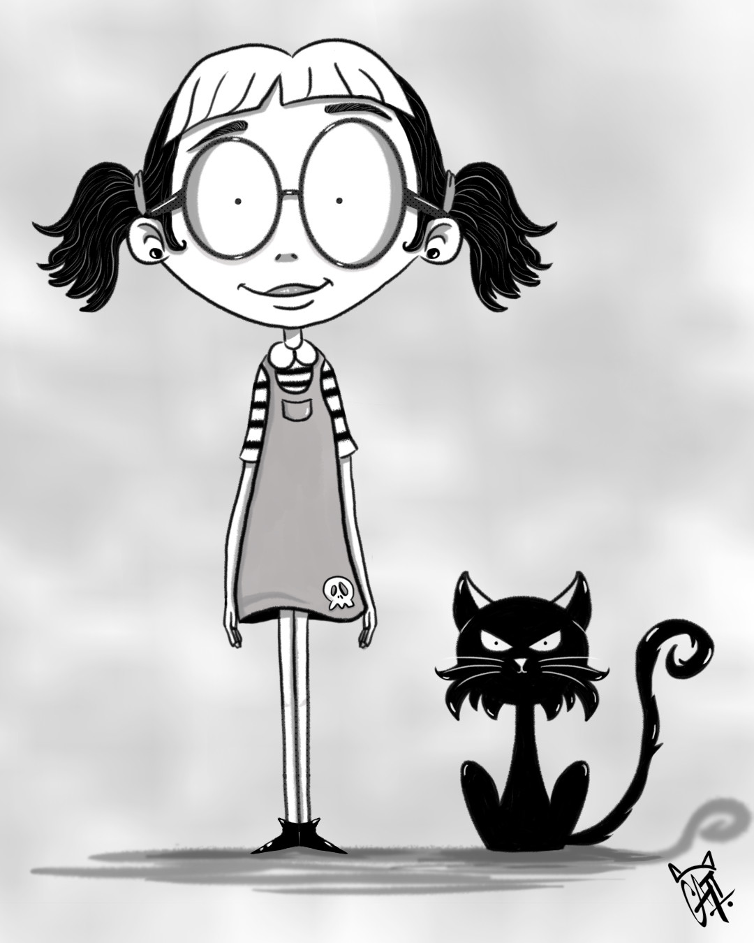 Girl & Cat doodle