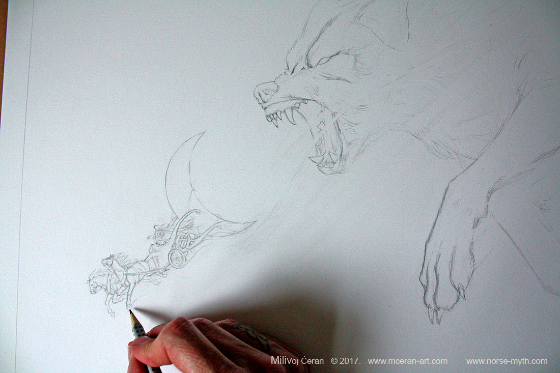 Sköll and Hati wip, drawing