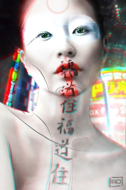 Remi delabaudiere cyborg geisha 3d couleurs