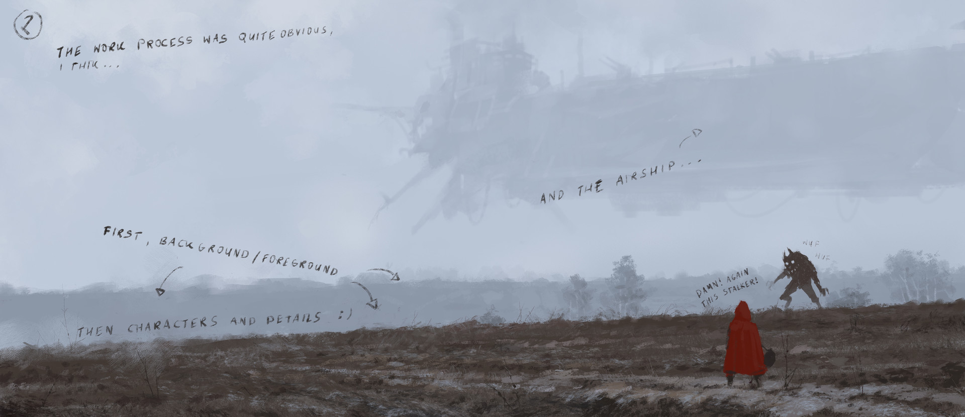 Jakub rozalski 1920 on the wings of the wind process01