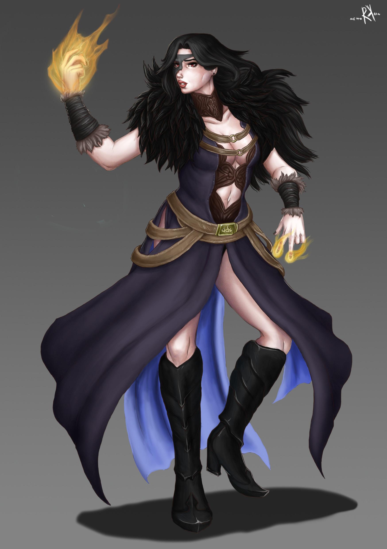 Art Art Prints Goth Female Sorceress In Black Robe Comic Fantasy Art