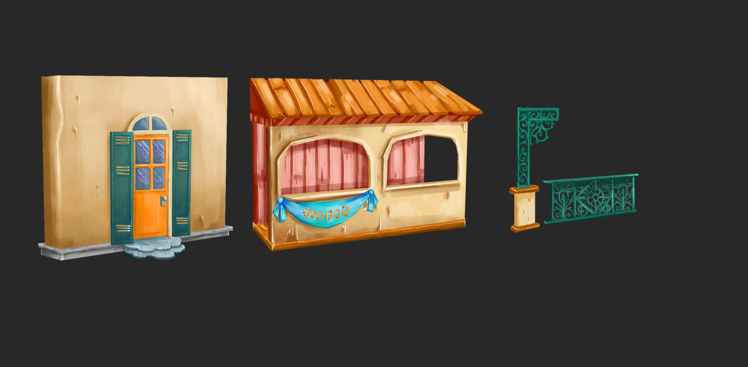 Some concept for the walls and gates for the game.