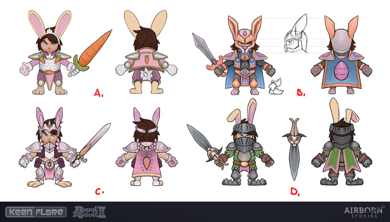 Royal Revolt 2: Bunny Set first drafts by Mario Manzanares