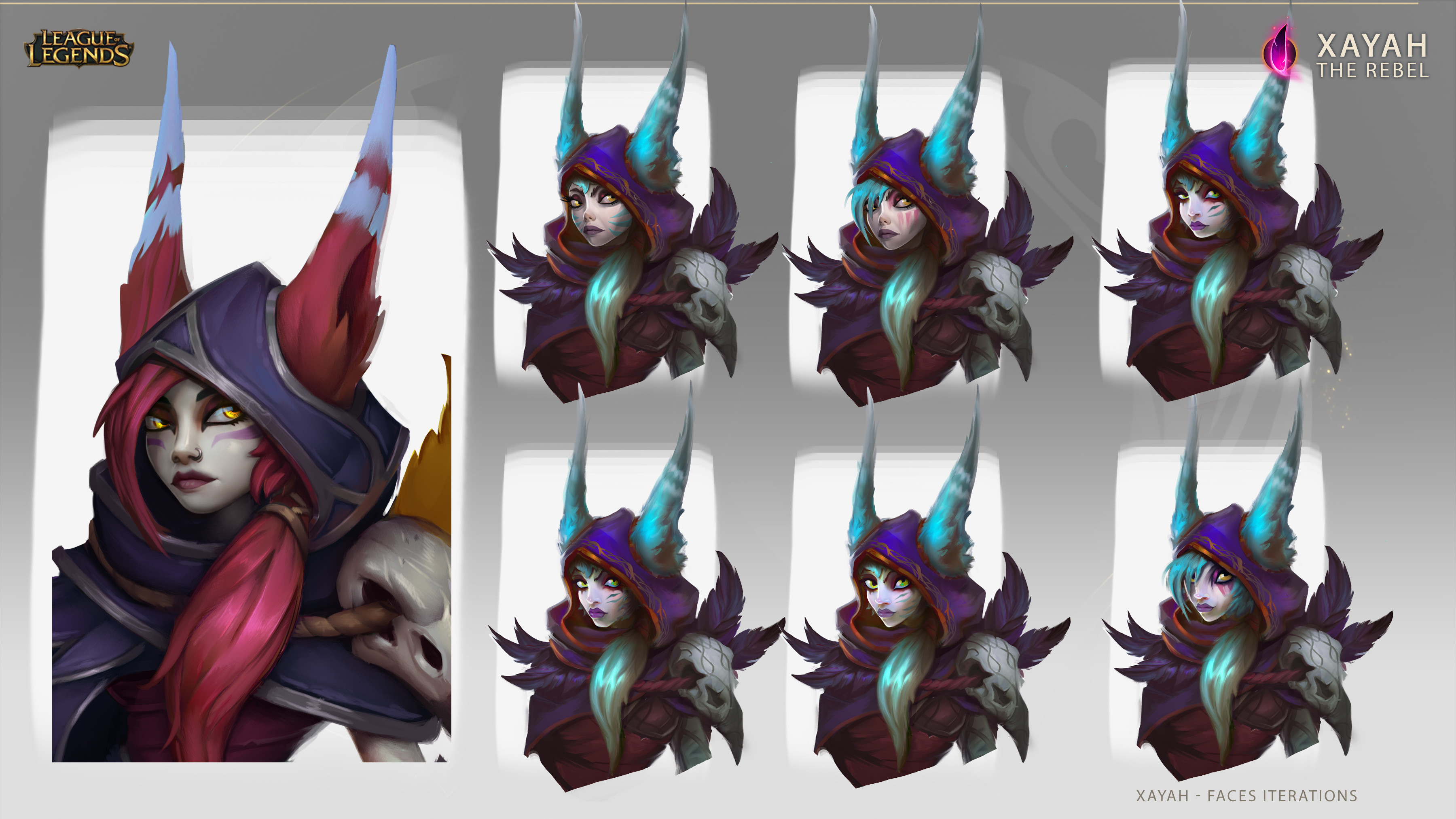 Different faces iterations I did for Xayah before the final one.
