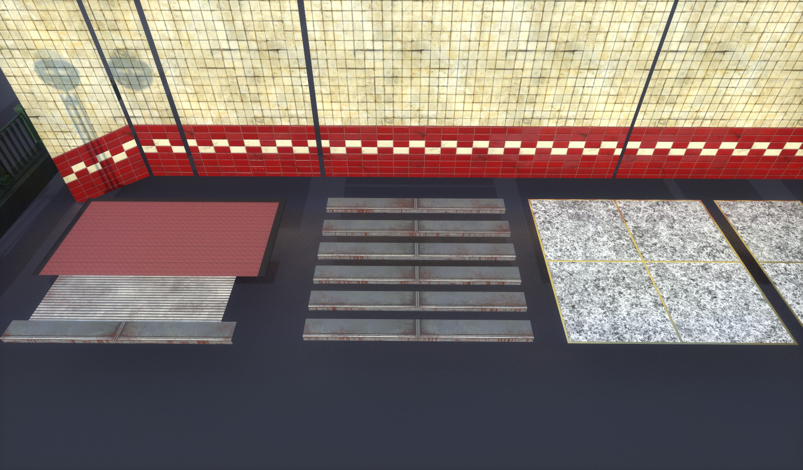 Flooring - (Subway Entrance Mat, Steps, Marble Floor)