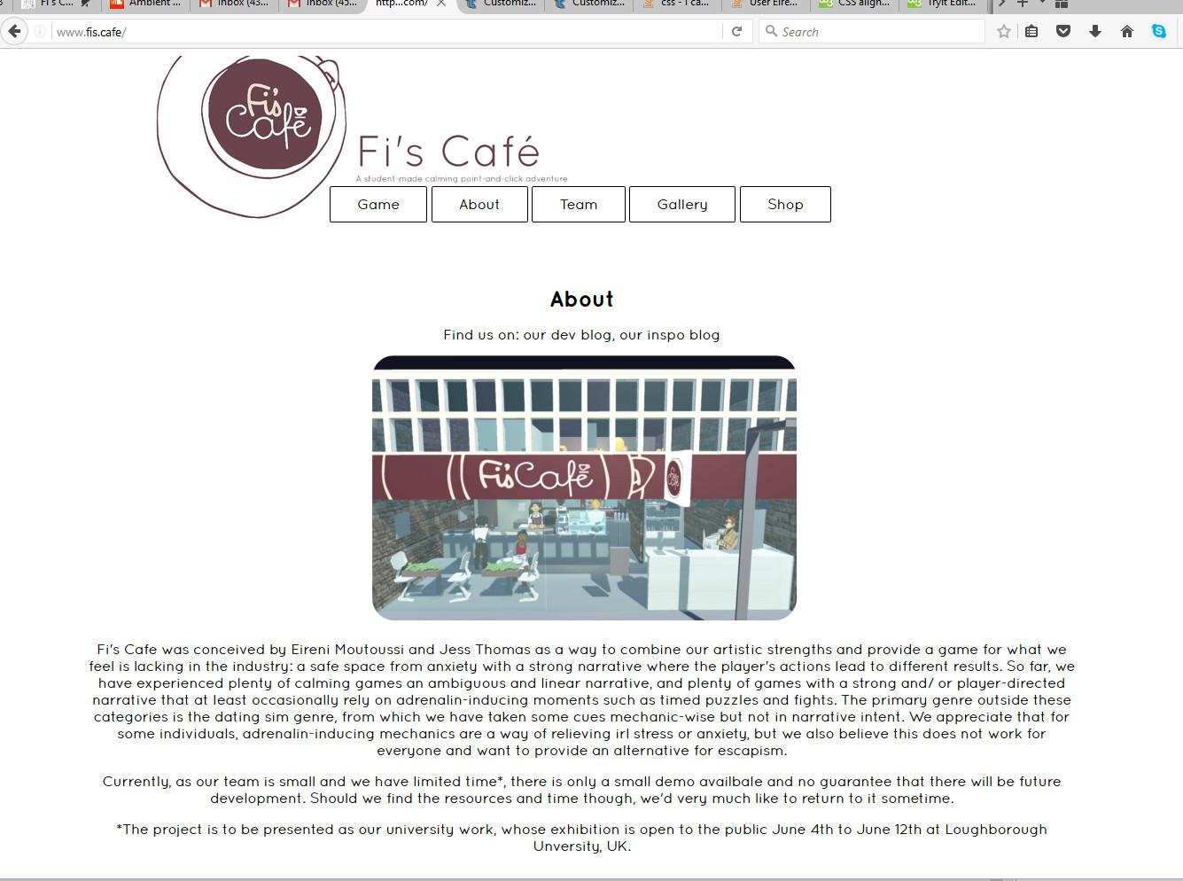 Partway through the website development