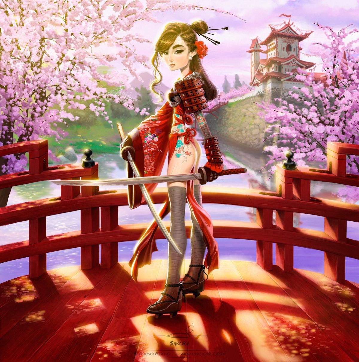 Alfonso pardo martinez samurai girl sakura pardoart