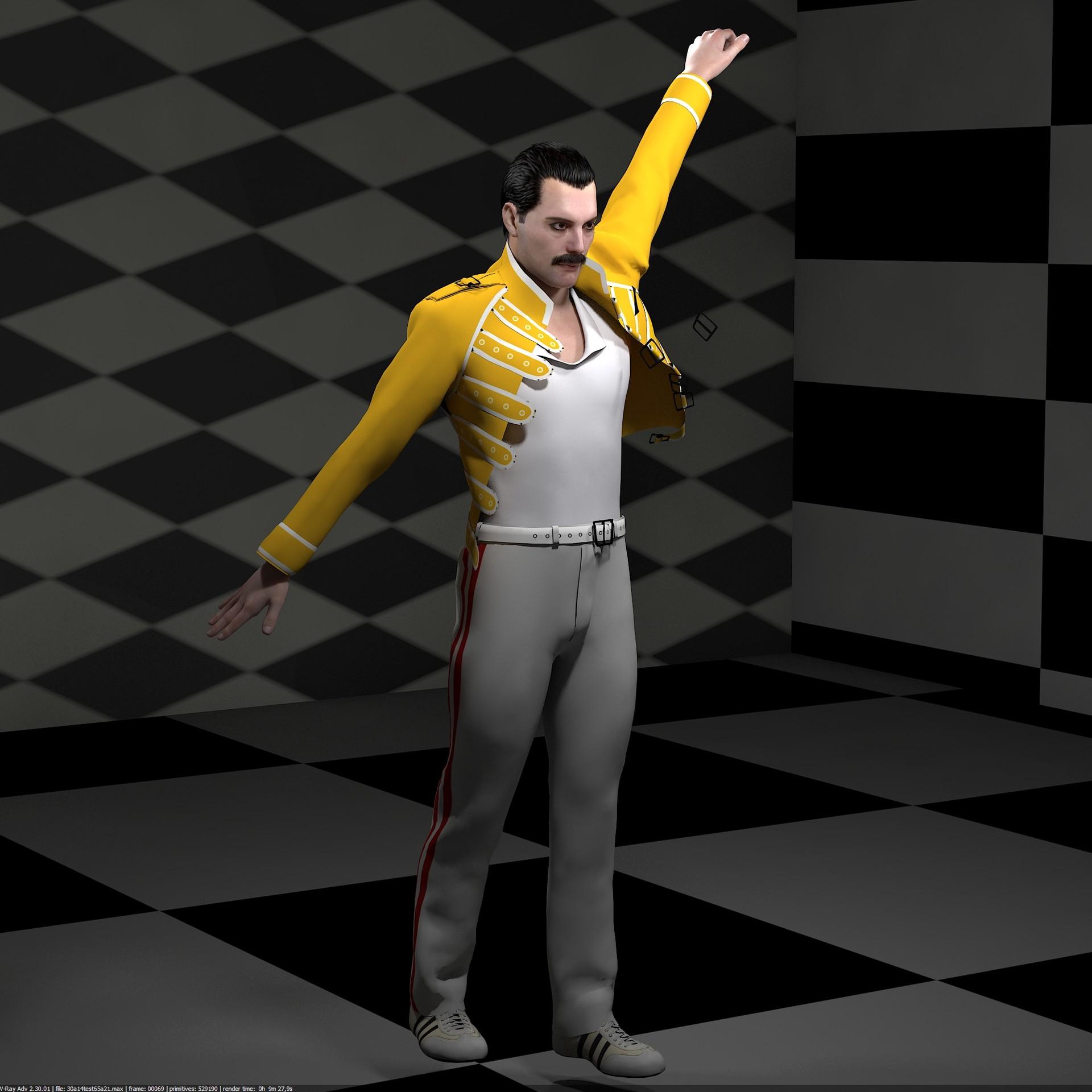 ArtStation - 3d model of Freddie Mercury singer rigged and animated