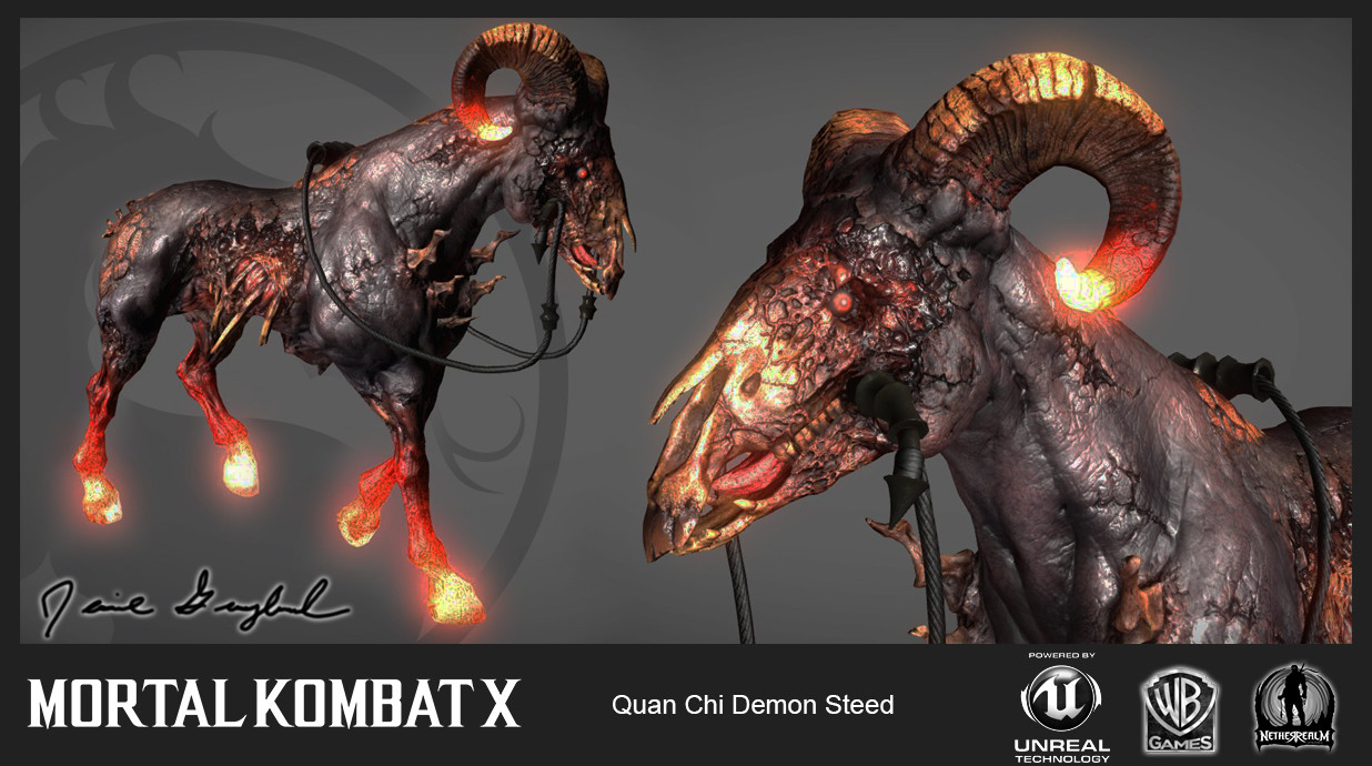 Quan Chi's Steed (In-Game). I was responsible for the In-Game low res mesh/materials and rigging for this asset. The talented Anthony Sixto (https://www.artstation.com/artist/asixto) handled the Concept/High-Res