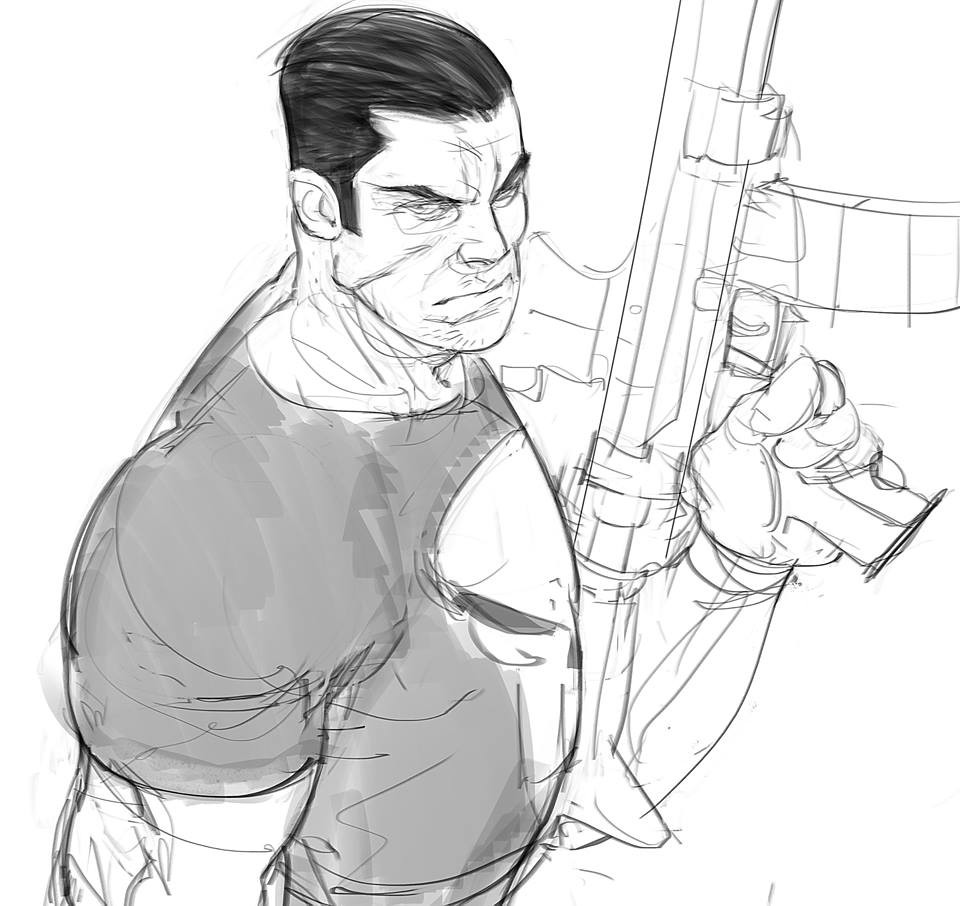 Punisher! Sketch before bed