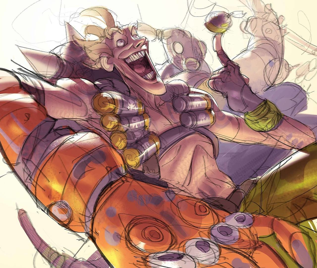 Why Junkrat looks so happy? It's because he drank to much gasoline? It's because he watch to many cat videos? Why god? so many questions...