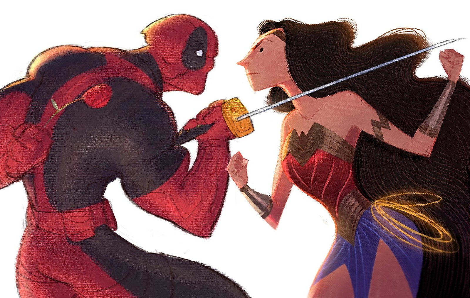 Marvel vs DC! My buddy Gabriel asked me for a collab and I though this is a nice opportunity to play with textures has he does with his amazing work, also I think Deadpool is looking for another kind of relationship