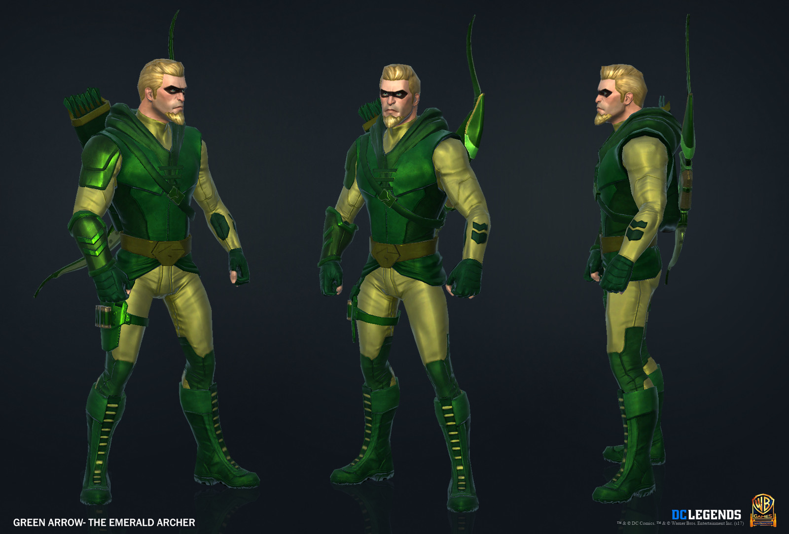 Green Arrow Heroic. High Poly, Low Poly and Textures/Material work done by me. Additional Texture/Material pass done by Josiah Martinez.