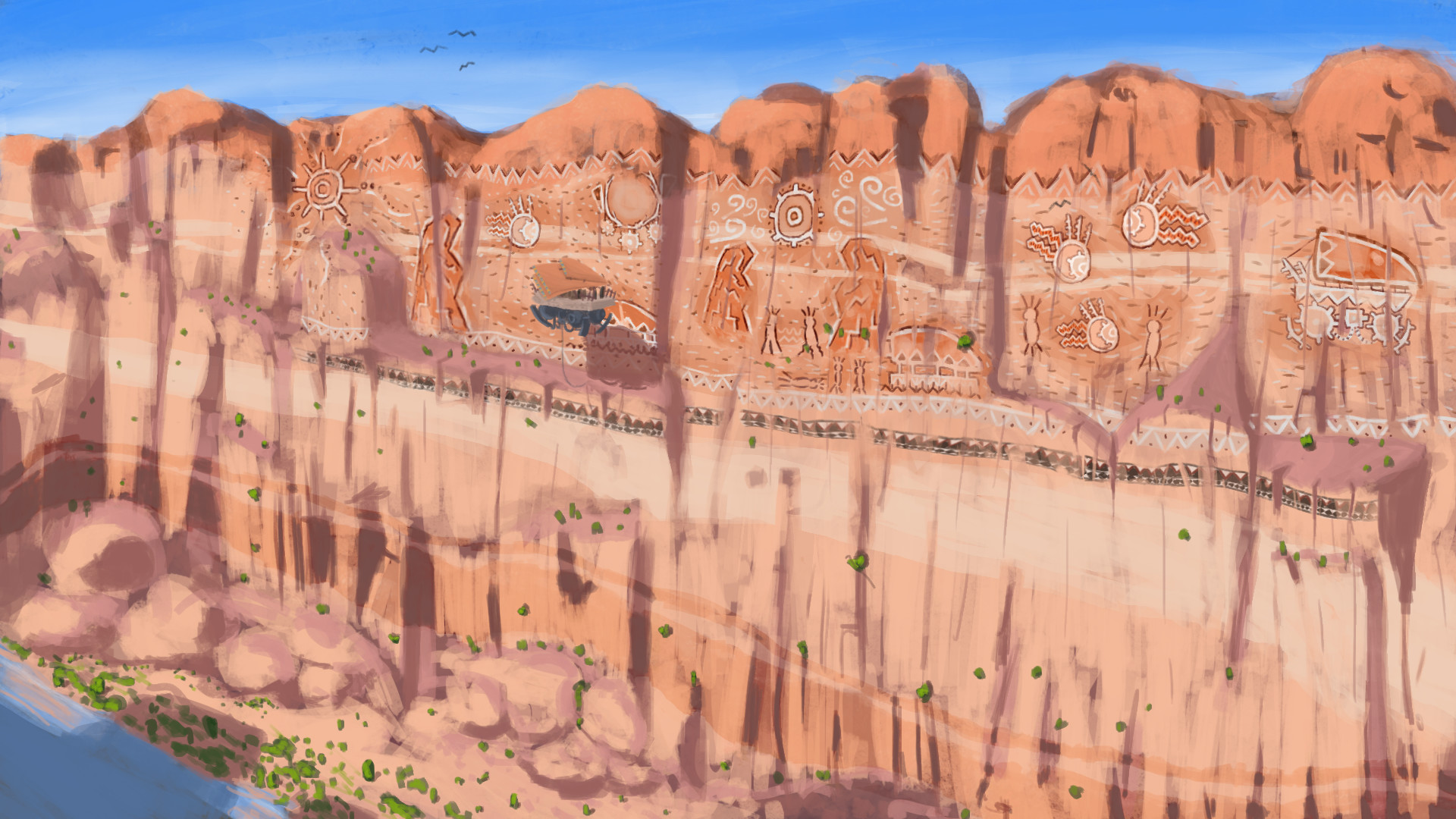 Final design and rendered out image of how the murals are placed in the environment.