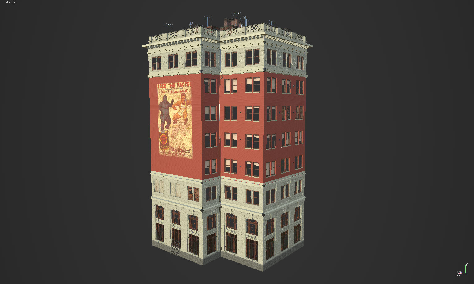 Substance painter render of an earlier version of the buildings textures. It has the bricks painted red pinkish.