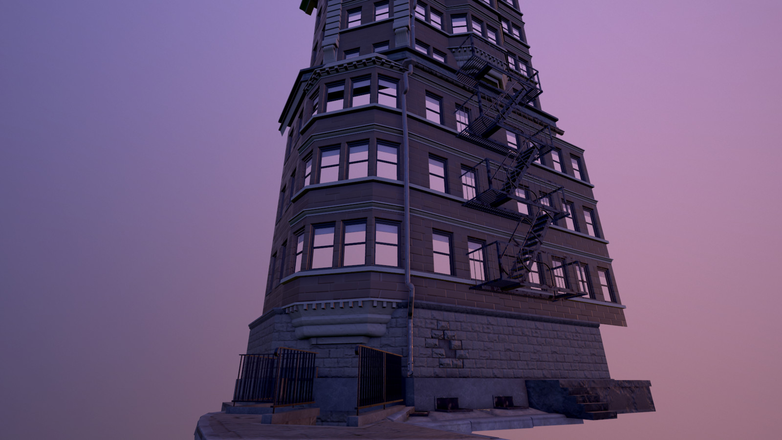 Street-view of the entrance of the building, rendered in Marmoset Toolbag