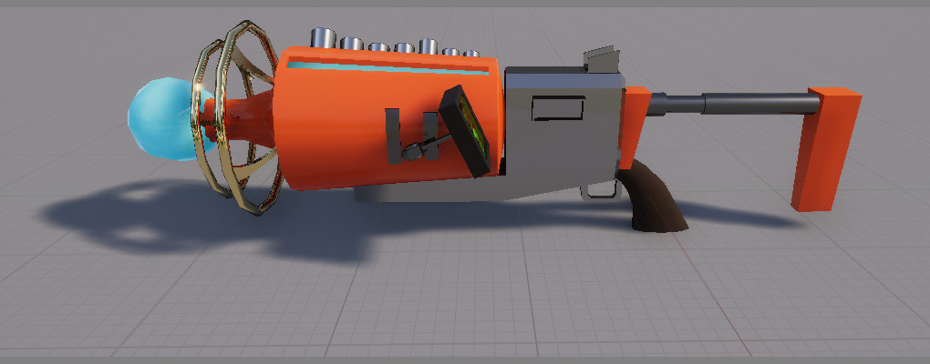 Model of the gun rendered in unreal, the screen use to have a nice panning display with green logs and random info, we ended up using the screen as a health indicator