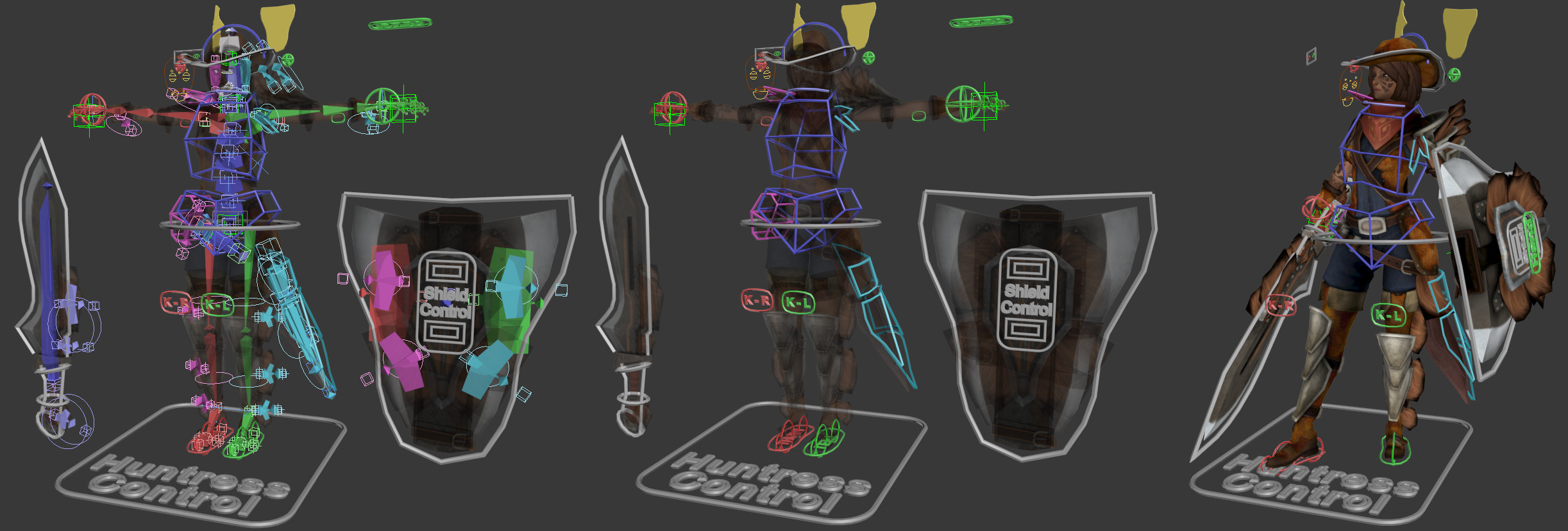 Simple screen captures of the rig. Lots of spring bones to simulate cloth!