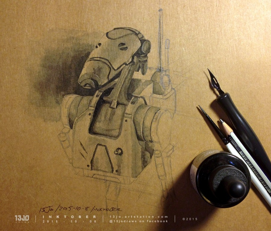 A Trade Federation Battle Droid done in ink-wash.
