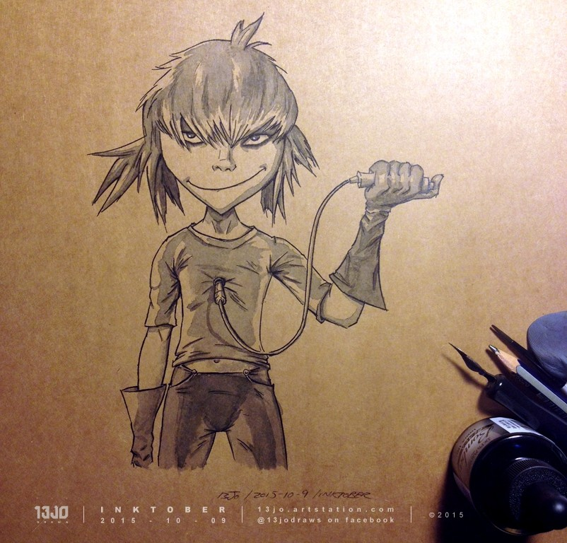 Jamie Hewlett fan art with Cyborg Noodle.