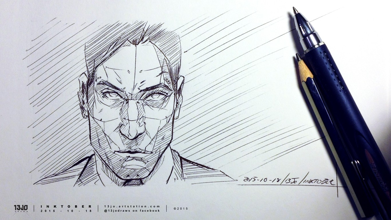 Ghost In The Shell inspired cyborg in roller-ball ink pen drawing.