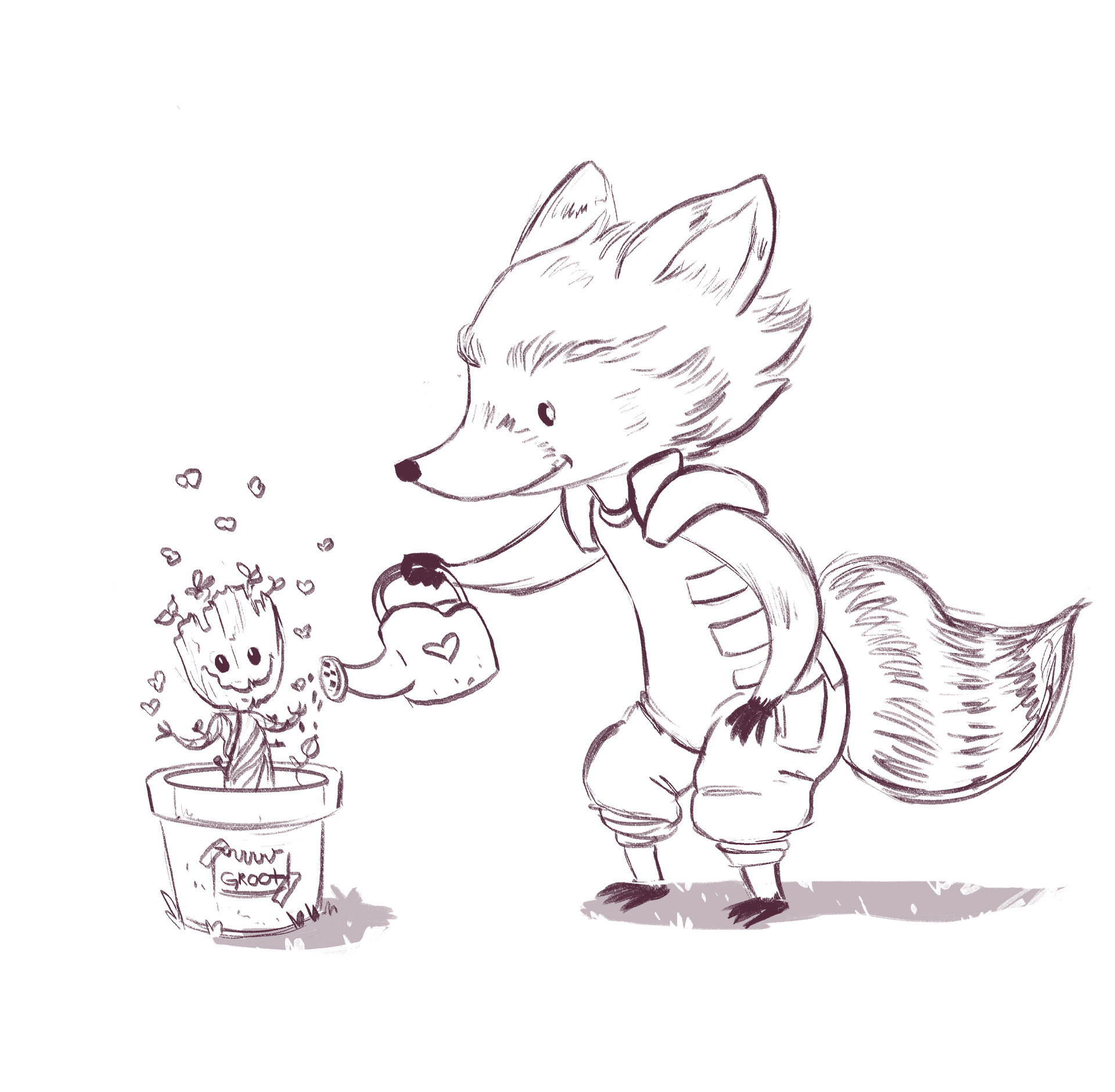 Laís Bicudo - Rocket Raccoon and Baby Groot