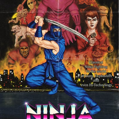 Pablo romero ninja dragon sword poster